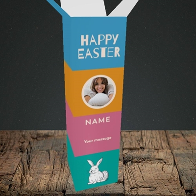 Picture of 4 Colour Bunnies, Easter Design, Upright Bottle Box