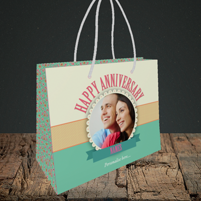 Picture of Roses, Anniversary Design, Small Landscape Gift Bag