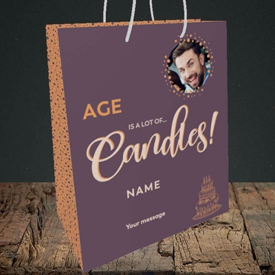Picture of A Lot Of Candles, Birthday Design, Medium Portrait Gift Bag