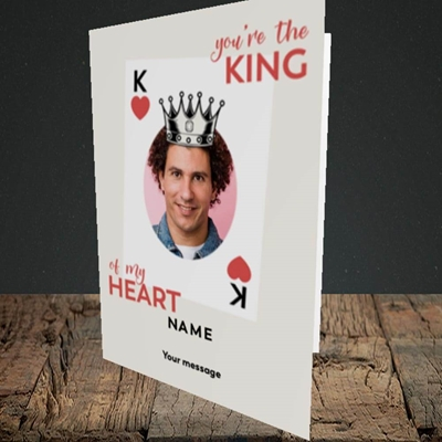 Picture of King Of My Heart, Valentine's Design, Portrait Greetings Card