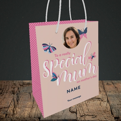 Picture of Butterflies, Mother's Day Design, Small Portrait Gift Bag