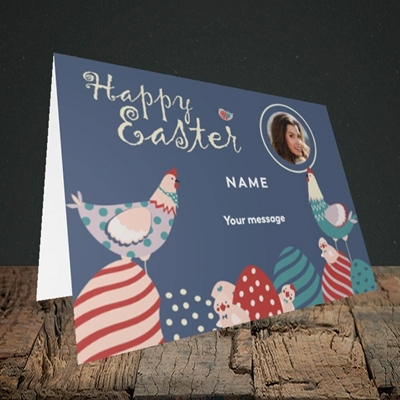 Picture of Hen & Chick Egg Hunt, Easter Design, Landscape Greetings Card