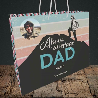 Picture of Above Average Dad, Father's Day Design, Medium Landscape Gift Bag
