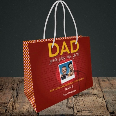 Picture of Dad Jokes, Father's Day Design, Small Landscape Gift Bag