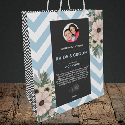 Picture of Zigzag Blue B&G, Wedding Design, Medium Portrait Gift Bag