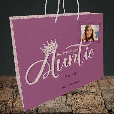 Picture of Auntie (Crown), Birthday Design, Medium Landscape Gift Bag
