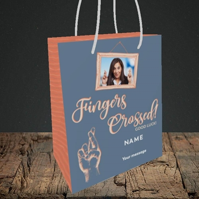 Picture of Fingers Crossed, Good Luck Design, Small Portrait Gift Bag
