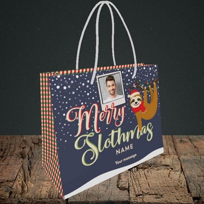 Picture of Merry Slothmas, Christmas Design, Small Landscape Gift Bag
