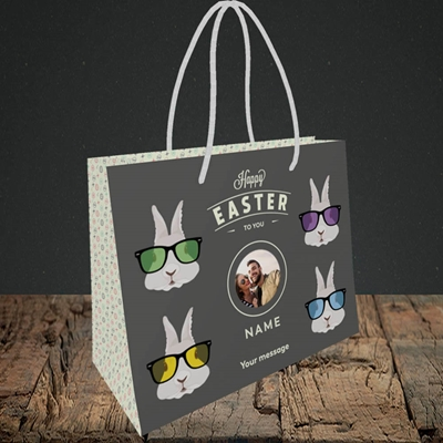 Picture of Hipster Bunnies, Easter Design, Small Landscape Gift Bag