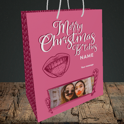 Picture of Merry Christmas Bitches, Christmas Design, Medium Portrait Gift Bag