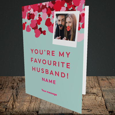 Picture of Favourite Husband, Valentine's Design, Portrait Greetings Card
