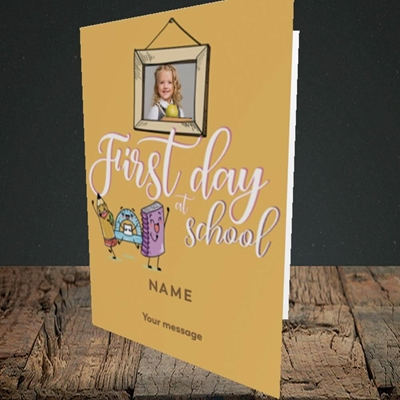 Picture of First Day At School, Good Luck Design, Portrait Greetings Card