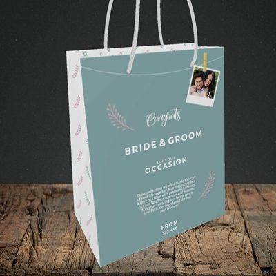 Picture of Peg & Polaroid Teal B&G, Wedding Design, Small Portrait Gift Bag