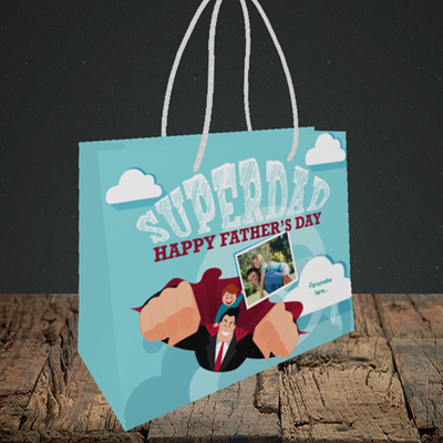 Picture of Superdad, Father's Day Design, Small Landscape Gift Bag