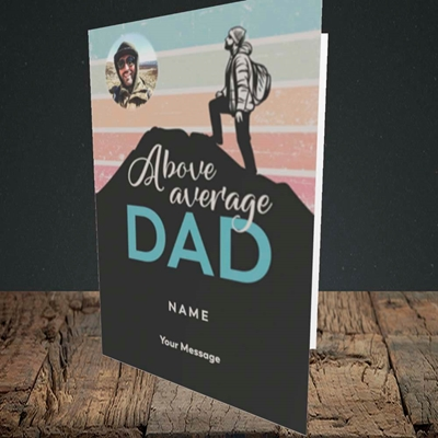 Picture of Above Average Dad, Father's Day Design, Portrait Greetings Card
