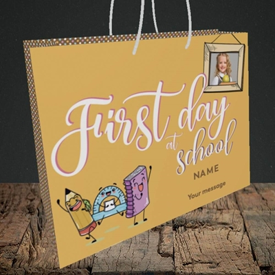 Picture of First Day At School, Good Luck Design, Medium Landscape Gift Bag