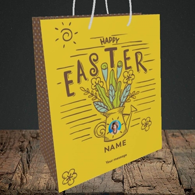Picture of Watering Can, Easter Design, Medium Portrait Gift Bag