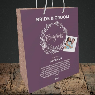 Picture of Wreath Purple B&G, Wedding Design, Medium Portrait Gift Bag