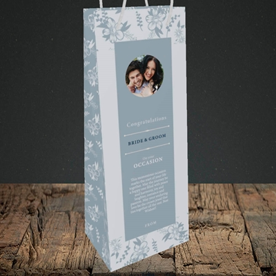 Picture of Floral Strip Edges - Pale Blue  B&G, Wedding Design, Bottle Bag