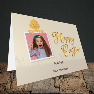 Picture of Duckling Polaroid, Easter Design, Landscape Greetings Card