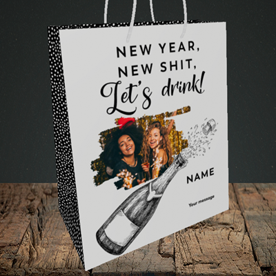 Picture of Let's Drink, New Year Design, Medium Portrait Gift Bag