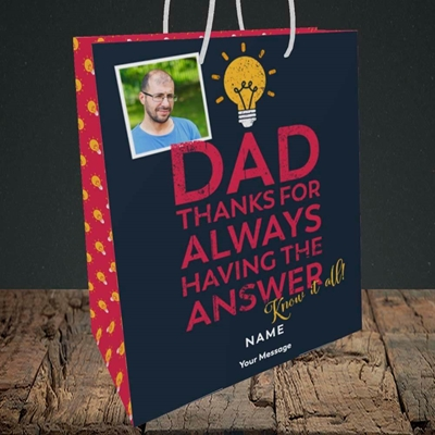 Picture of Know It All, Father's Day Design, Medium Portrait Gift Bag