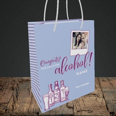 Picture of Calls For Alcohol, Celebration Design, Small Portrait Gift Bag