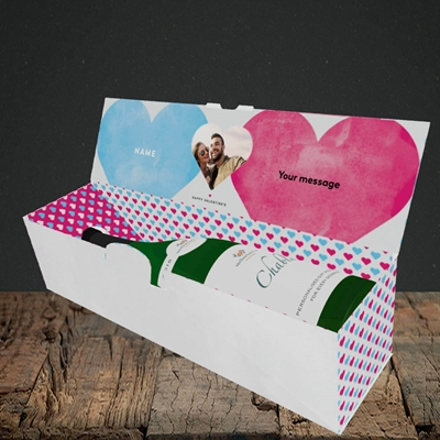 Picture of Joined Hearts (textured), Valentine's Design, Lay-down Bottle Box