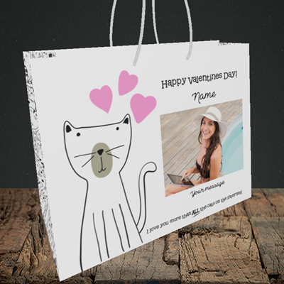 Picture of Cat, Valentine's Design, Medium Landscape Gift Bag