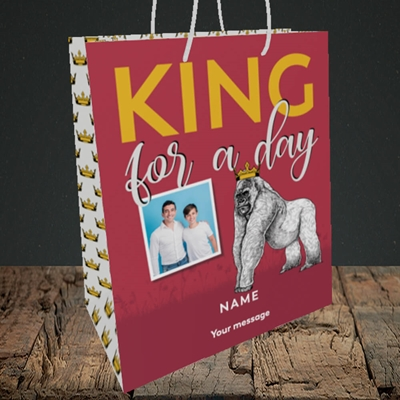 Picture of King For A Day, Father's Day Design, Medium Portrait Gift Bag