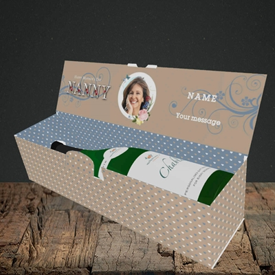 Picture of Nanny Floral Letters, Mother's Day Design, Lay-down Bottle Box