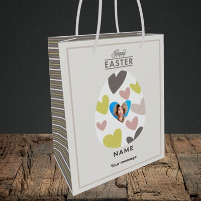 Picture of Egg Of Hearts, Easter Design, Small Portrait Gift Bag