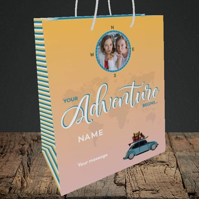 Picture of Adventure Begins, Leaving Design, Medium Portrait Gift Bag