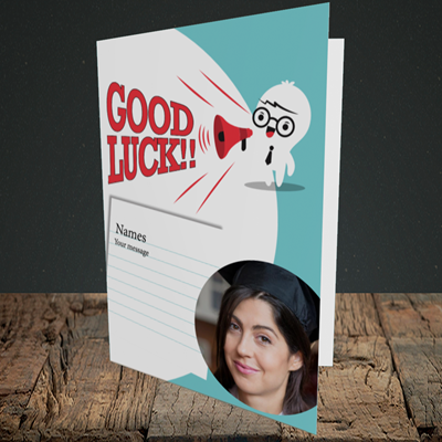 Picture of Shout, Good Luck Design, Portrait Greetings Card