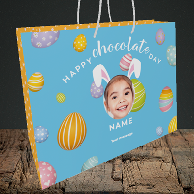 Picture of Chocolate Day, Easter Design, Medium Landscape Gift Bag