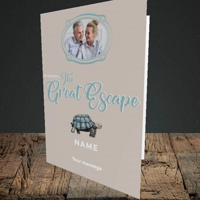 Picture of The Great Escape, Retirement Design, Portrait Greetings Card