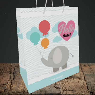 Picture of Elephant, New Baby Design, Medium Portrait Gift Bag