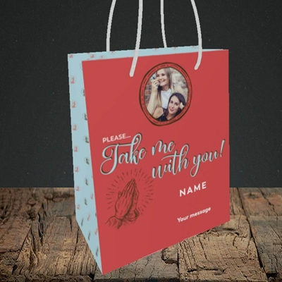 Picture of Take Me With You, Leaving Design, Small Portrait Gift Bag