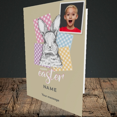 Picture of Patchwork Rabbit, Easter Design, Portrait Greetings Card