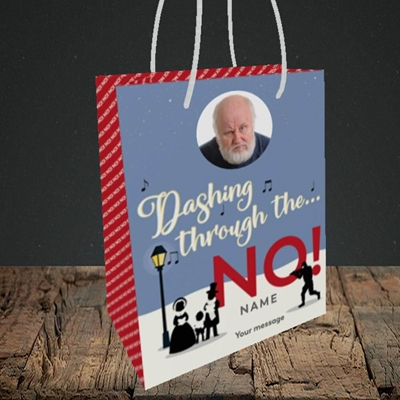 Picture of Dashing Through The... NO!, Christmas Design, Small Portrait Gift Bag