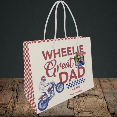 Picture of Wheelie Great Dad, Father's Day Design, Small Landscape Gift Bag