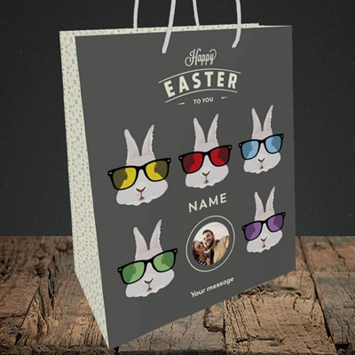 Picture of Hipster Bunnies, Easter Design, Medium Portrait Gift Bag