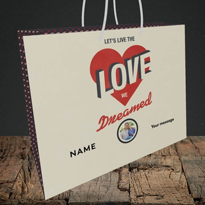Picture of Let's Live The Love, Valentine's Design, Medium Landscape Gift Bag