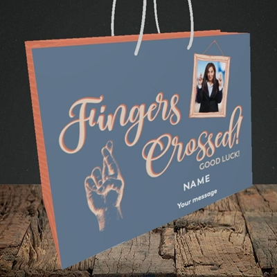 Picture of Fingers Crossed, Good Luck Design, Medium Landscape Gift Bag