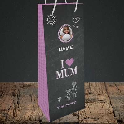 Picture of I Love Mum (Chalk Board), Bottle Bag