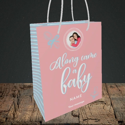 Picture of Along Came A Girl, New Baby Design, Small portrait Gift Bag