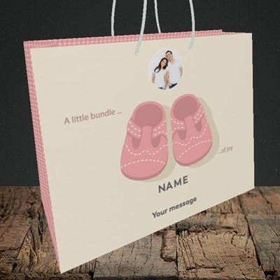 Picture of Little bundle-Girl, New Baby Design, Medium Landscape Gift Bag