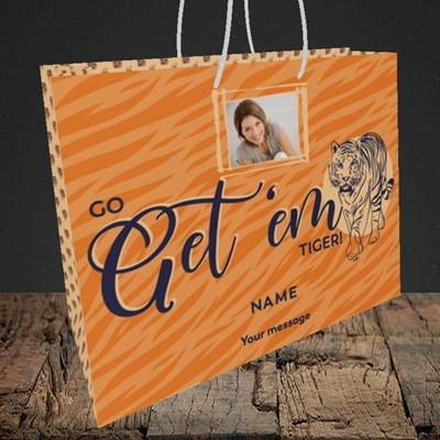 Picture of Get 'em Tiger, Good Luck Design, Medium Landscape Gift Bag