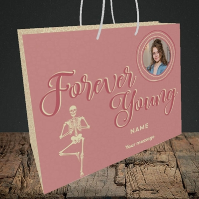 Picture of Forever Young(Skeleton), Birthday Design, Medium Landscape Gift Bag