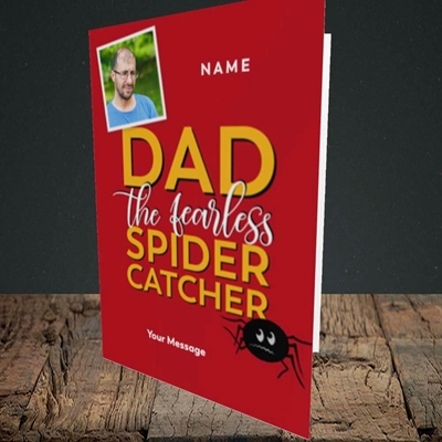 Picture of Spider Catcher, Father's Day Design, Portrait Greetings Card